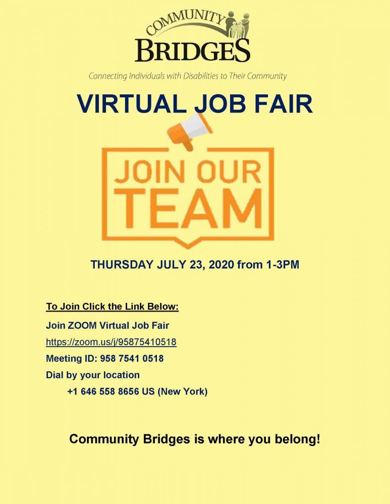 Virtual Job Fair Thursday July, 21st. Join us at https://zoom.us/j/95875410518