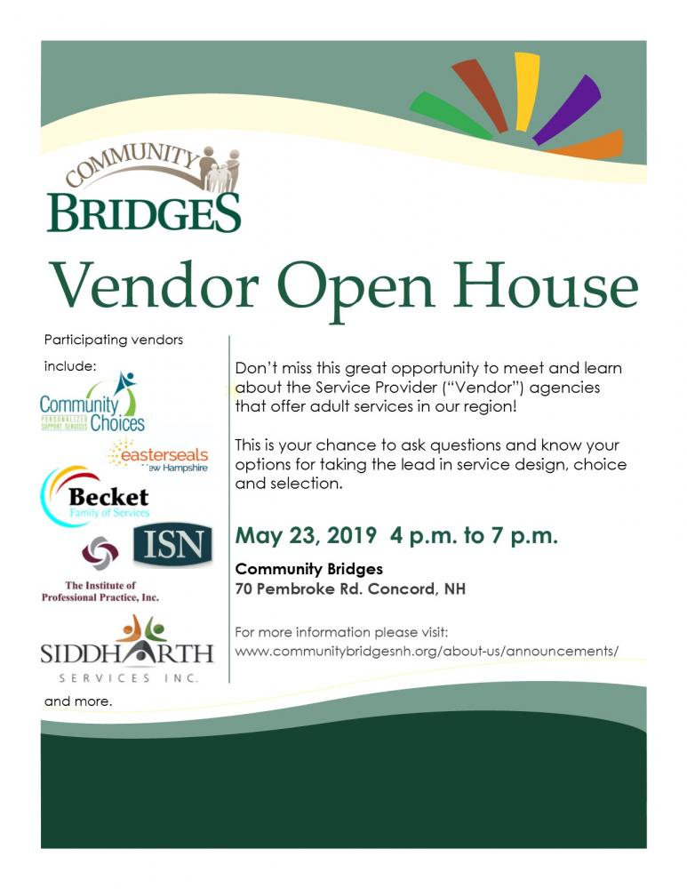 Green arch across the top with multi colored star burst: Community Bridges Vendor Open House May 23 from 4 pm to 7pm at 70 Pembroke Rd, Concord NH 03301