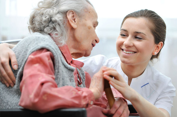 nurse support for elderly woman